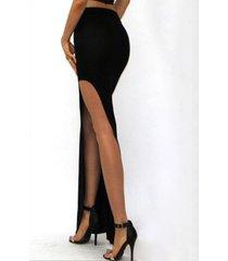falda de talle alto con abertura negra diseño