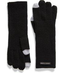 women's rebecca minkoff milano knit gloves, size one size - black