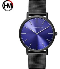 reloj de cuarzo con correa de malla de acero inoxidable-azul