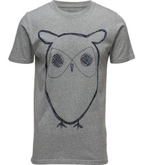 alder big owl tee - gots/vegan t-shirts short-sleeved grå knowledge cotton apparel