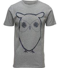 alder big owl tee - gots/vegan t-shirts short-sleeved grå knowledge cotton apparel