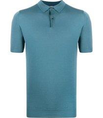 john smedley fine knitted polo shirt - blue