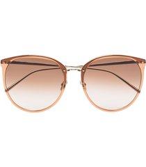 linda farrow kings tobacco 22kt gold-plated sunglasses - brown