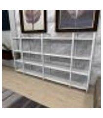 aparador industrial aço cor branco 180x30x98cm (c)x(l)x(a) cor mdf branco modelo ind57bapr