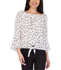 bcx juniors' bell-sleeve printed blouse