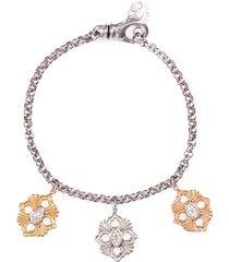 'opera' diamond 18k gold floral charm bracelet