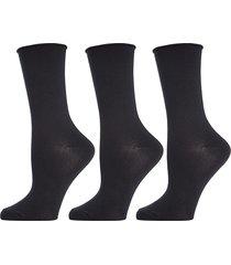 memoi women's 3-pack roll top buttersoft crew socks - black
