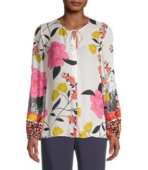kobi halperin women's noelle stretch-silk floral blouse - white multi - size l
