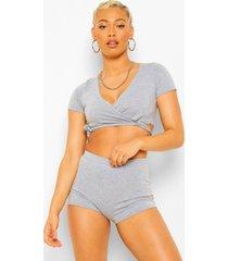 petite korte wikkel pyjama set, grey