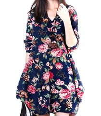 donna vintage vestito floreale con orlo asimmetrico con collo v a maniche lunghe