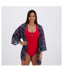 blusa kimono fila swim feminina marinho