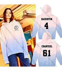 kpop exo gradient cap hoodie sweater unsiex pink chanyeol sweatershirt coat kris