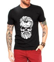 camiseta criativa urbana caveira barber