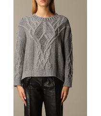 ermanno scervino sweater ermanno scervino pullover in cable-knit wool and cashmere with rhinestones