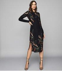 reiss petra - floral printed midi dress in black print, womens, size 14