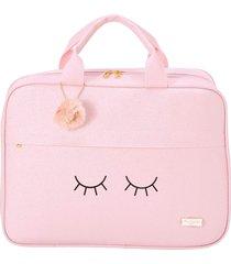 bolsa mala maternidade pirulitando baby chuva de amor rosa