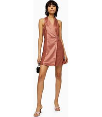 pink satin tuxedo dress - copper
