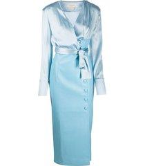materiel pencil skirt shirt dress - blue