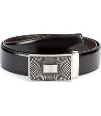 roberto cavalli men's mirror snake logo plate leather belt - black - size 38