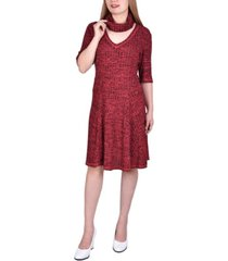 women's elbow sleeve ribbed dress with matching face covering/headband