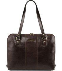 tuscany leather tl141795 ravenna - esclusiva borsa business per donna testa di moro