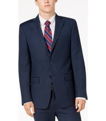 calvin klein men's slim-fit stretch blue/charcoal birdseye suit jacket