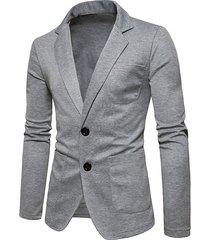 koyye abrigo informal para hombre cárdigan liso con cuello de solapa