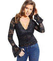 blusa jordan lace top negro guess