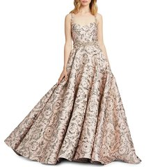 mac duggal women's embroidered ball gown - vintage rose - size 0