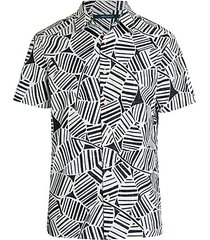 short-sleeve abstract palm leaf print shirt