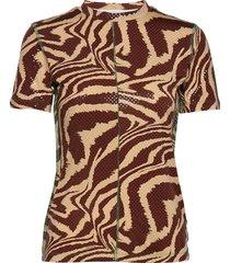 foil jersey t-shirts & tops short-sleeved brun ganni
