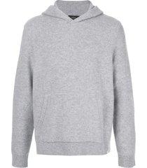 vince fine knit hoodie - grey