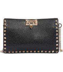 valentino garavani rockstud leather clutch - black