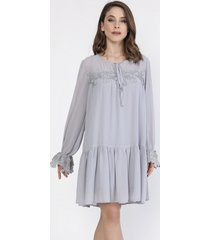 sukienka szyfonowa z gipiurą