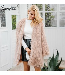 womens fluffy long faux fur coat covered button coat winter female outerwear
