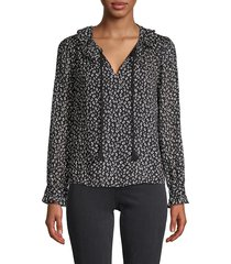 rebecca taylor women's cheetah-print silk & cotton-blend top - black multi - size 0