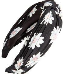 tasha pleated floral knot headband in black/pink at nordstrom