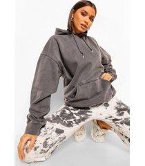 oversized gebleekte hoodie, charcoal