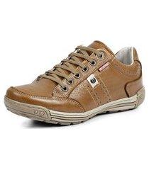 sapatênis tênis couro natural linha conforto reverso - 3021 marrom claro