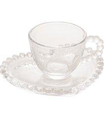 conjunto de 4 xícaras café cristal com pires coração pearl 85ml
