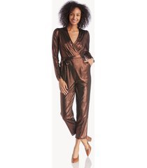 greylin women's elton lame knit jumpsuit in color: copper size xs from sole society