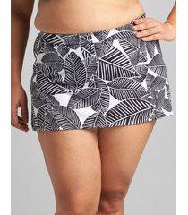 lane bryant women's slitted swim skirt 18 graphic leaves