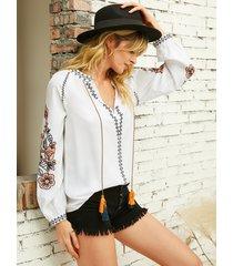 yoins blusa de manga larga con cuello en v y estampado floral con tira elástica blanca