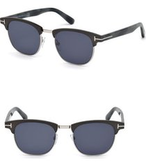 men's tom ford laurent 51mm round retro sunglasses - matte gunmetal / blue