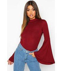 flare sleeve high neck top, wine