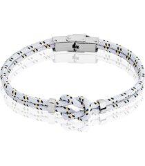 bracciale nodo bianco, blu e giallo in corda e acciaio per uomo