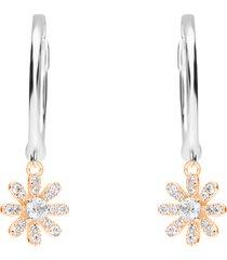 orecchini a cerchio in argento bicolore e zirconi con fiori per donna