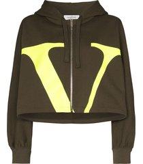 valentino vlogo crop hoodie - green