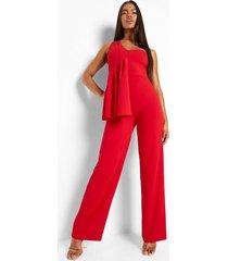 asymmetrische gedrappeerde wide leg jumpsuit, red