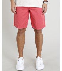 bermuda de sarja masculina reta com bolsos coral